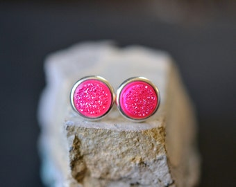 fuchsia druzy stud earrings