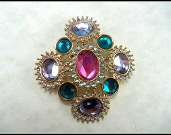 Vintage Multicolor Rhinestones Pin Brooch, Goldtone Brooch, Aqua Pink Lilac Clear Stones Pin