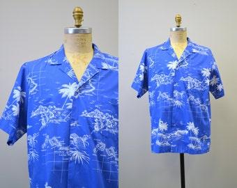 1980s Blue and White Hawaiian Shirt