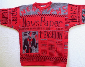 Retro 80s red sweater, Bush Quayle sweater, Newspaper fashion, Paris fashion, ugly sweater, 1988 presidential election, Jackpot Jen