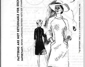 Vintage 1960s Spadea Duchess Of Windsor N8 A-Line Dress Banded Neck Sewing Pattern Size 14 Bust 36.5