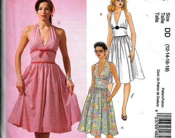 McCall's M4826 Vintage 50s Inspired HALTER DRESS Sewing Pattern 4826 UNCUT Size 12, 14, 16, 18 Sleeveless Rockabilly