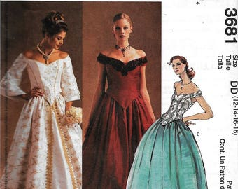 McCall's Evening Elegance 2 Pc Dress Ball Gown Full Skirt & Fitted Off The Shoulder Top Sewing Pattern UNCUT Size 12, 14, 16, 18