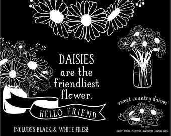 Daisy Clip Art in Mason Jars | Black & White Wreath | Bouquet | Chalkboard Graphics | Black and White Wedding