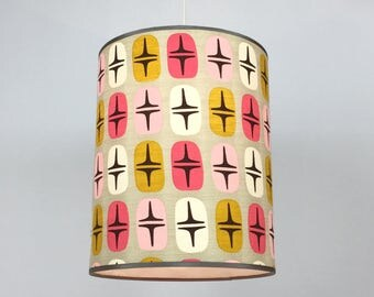 Pendant lamp in pink and gold barkcloth
