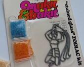 Vintage Makit Bakit 1980's Suncatcher Ornament Kit ~ Zodiac Sign ~ AQUARIUS