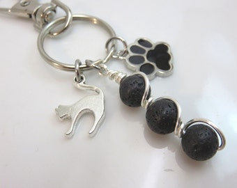 Black Cat dog Keychain - silver cat charm keychain - black enamel paw keychain - lava bead keychain  black cat bag charm  gift for cat lover