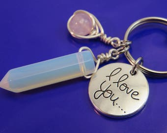 Opalite keychain - faux moonstone keyring - opalite bag charm - I love you keychain - love keychain - silver - swivel clasp