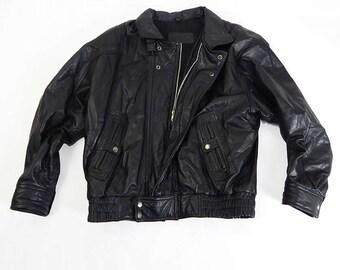 Mens Vintage Black Leather Biker Style Jacket Size Medium