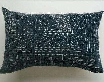 Large Vintage Chinese Batik Lumbar Pillow Cover - Indigo Boho Pillow Covers - Modern Bohemian Decor