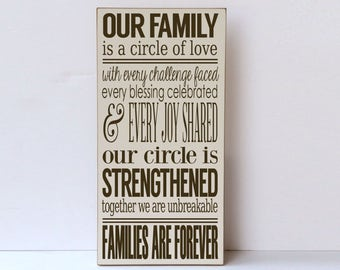 Family Wood Sign, Wall Art, Our Family, Farmhouse Decor, Cottage Decor, Families Are Forever, Inspirational Family Wood Sign, Gallery Wall