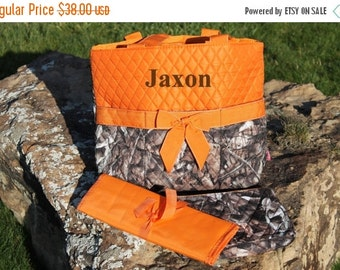 Spring Sale Orange Camouflage Diaper Bag Tote with Bow Camo Bag Personalize or Monogram Included