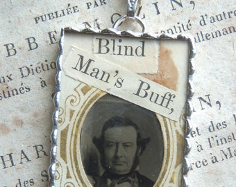 Fiona & The Fig - Victorian Tintype Photo - Civil War Era Tintype Photo-BLIND MANS BUFF - oldered Charm - Necklace - Pendant-Jewelry