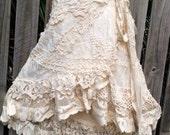 20%OFF RESERVED  bohemian skirt, gypsy skirt, boho wrap, tattered skirt, mori girl, shabby skirt, wedding skirt, bridesmaids, gypsy ski