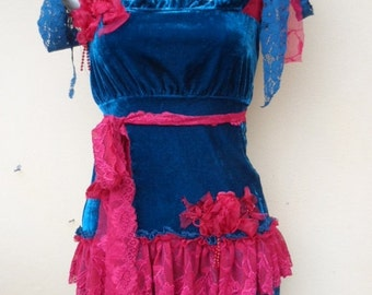 "20%OFF turquoise blue velvet top with lace ruffles..small to 36"" bust"