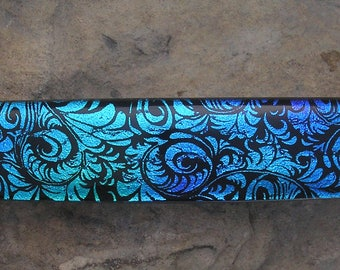 Teal Blue Fused Dichroic Glass Barrette French Barrette