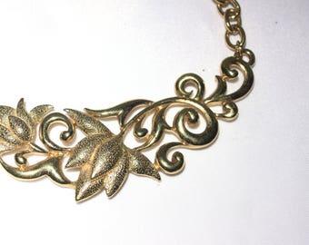 Gold Tone Open Work Flower Choker Necklace, Scrollwork Floral Bib Necklace