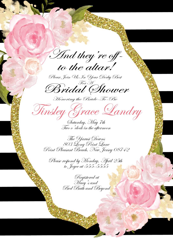 Kentucky Derby theme shower invitation Classic Tea party Shower – Bridal Shower Invitations Tea Party Theme