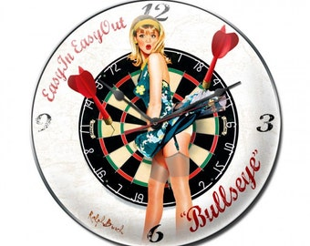 Vintage metal wall clock, easy in easy out bullseye,  man cave, sports bar, garage decor, pin up girl, darts
