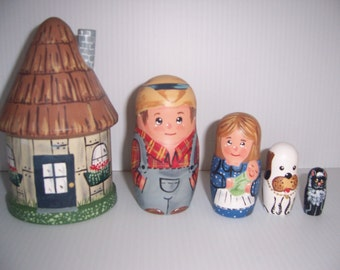 Hand painted Farm House and Family stacking nesting doll set
