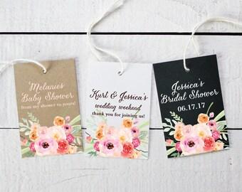 Floral Favor Tags - Bouquet Label Design - Shower Favor Tags | Floral Favor Tags | Personalized Favor Tags | Favor Hang Tags - Set of 18