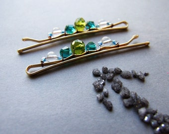 Spring Bobby Pins, Green Blue Hair Clips, Romantic Bohemian Hair Pins, For Girls, Glass Crystals Bobby Pins