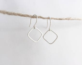 Hammered rhombus (earrings) - Small sterling silver open diamond shaped earrings, hand hammered