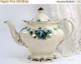 Vintage Sadler Teapot, Porcelain Tea Pot, Milky White, Blue Florals, Sadler Tea  12563