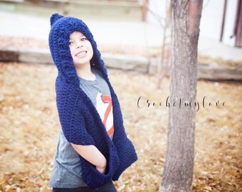 Hooded scarf crochet pattern, crochet patterns, hat patterns, scarf with pockets