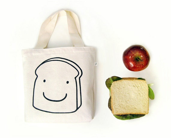 Tote bag Sandwich Bag · Lunch bag for your meal · Kids canvas tote bag · Lunch tote · Small tote bag with toast print,  handmade cotton bag