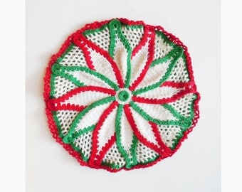 1940s-50s hand crocheted round cover for the holidays