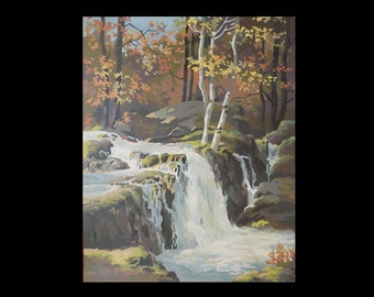 "1960s Paint by Number Waterfall Scene / Autumn / Fall / 16 "" x 20 "" / unframed"