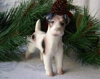 Vintage Fox Terrier Figurine Fine Porcelain E R Phila Vintage 1930s