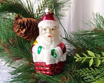 Vintage Christmas Ornament Glass House Ornament Frosted Chimney Visitor Holiday Decor 1990s