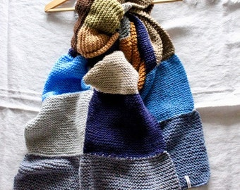 Hand-knitted patchwork scarf/wrap