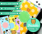 PRINTABLE Personal Size Kitty Dividers 5 Top Tabs & 10 Covers for Filofax Organizer Planner Instant Download