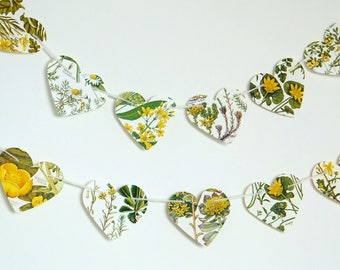 Heart garland, Yellow flowers bunting, Natural Wedding decor, Heart Bunting, Botanical Banner