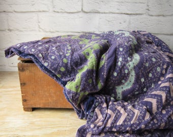 Indian Cotton Tapestry Woven BOHO Textile Coverlette - Kantha Throw