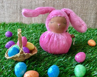 Little Bright Pink Waldorf Bunny - Easter Rabbit
