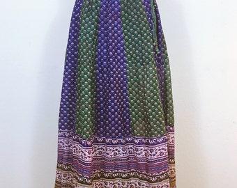 "Star of India Gauze Boho Skirt, 1970's 70's Vintage Wrap Skirt, Block Print , Hippie Festival Dress, Size small medium 26"" waist"