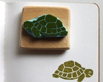 Loggergead Sea Turtle stamp, hand carved, wood mounted