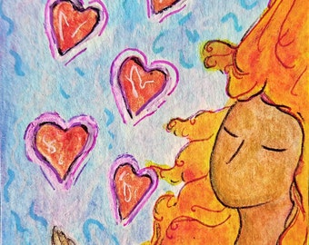 ACEO.Card.Little art.Womanhood art.Love.Aceo art.Card.Divine feminine.Affordable art.Gioia Albano.Valentine's day.Sending love.Valentine art