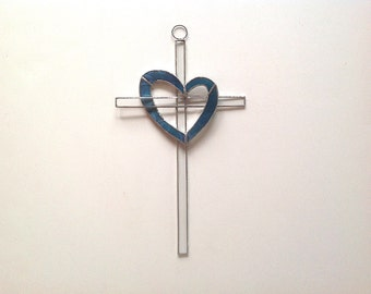 Blue Heart Stained Glass Cross/Suncatcher