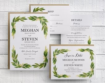 Greenery Wedding Invitations, Watercolor Greenery Wedding Invitations, Greenery Wedding Save the Dates, Olive Leaf, Olive Leaves, Green