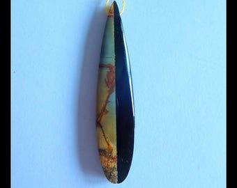 New Design!Multi-Color Picasso Jasper,Obsidian Intarsia  Pendant,51x11x5mm,3.5g(d0562)