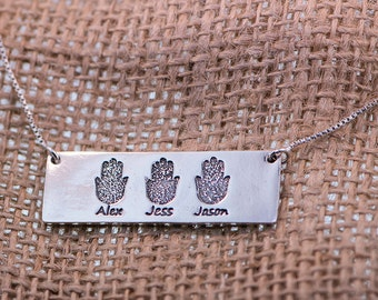Rectangle Hamsas FingerPrint Silver Pendant.