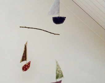 Sail boat mobile, textile art, eco friendly home, boho decor, nursery decor