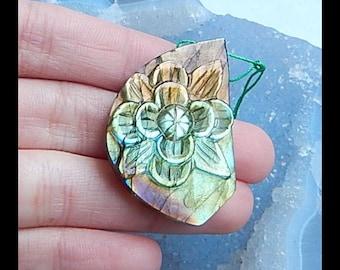 New,Handmade Carved Labradorite Flower Gemstone Pendant Bead,59x27x8mm,14.4g