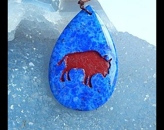 Hand Carved Lapis Lazuli,Red River Jasper Intarsia Rhino Gemstone Pendant Bead,41x26x6mm,9.94g