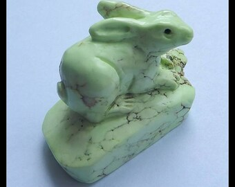Handmade Carved Lemon Jade Rabbit Cabochon,56x30x38mm,85.2g